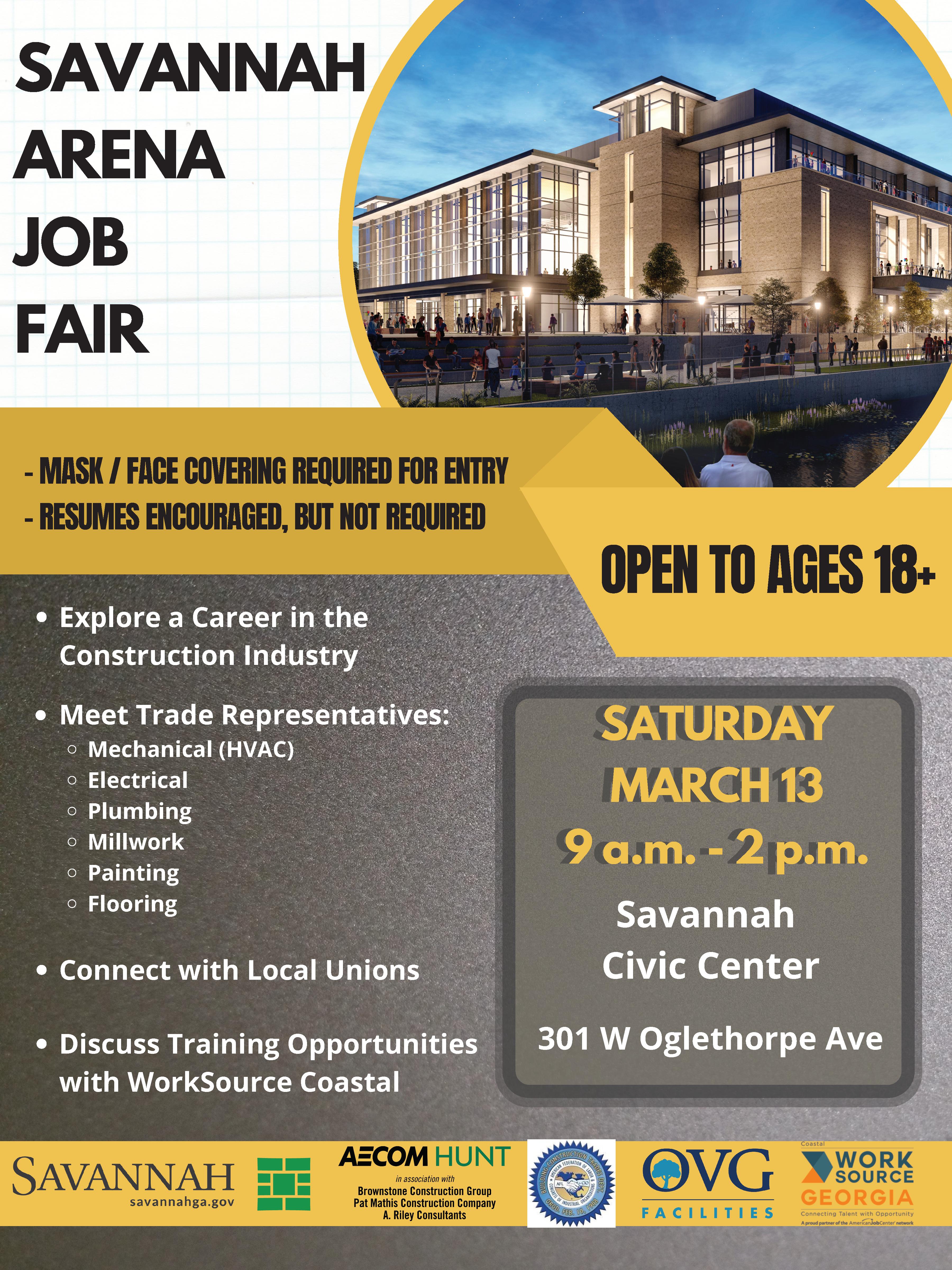 Savannah Arena Job Fair – March 13, 2021